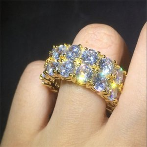 Hip Hop Iced Out Ring Micro Pave CZ Stone Tennis Ring Men Women Charm Luxury Jewelry Crystal Zircon Diamond Gold Silver Plated Wedding . u25