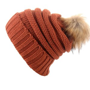 Winter Women Knitted Hat Girls Warm Pom Pom Beanies Fur ball Wool Hat Ladies Skull Beanie plain Crochet Ski Outdoor Caps LJJA3092