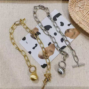 Hot Selling Metal Ball Pendant Thick Chain Necklace Bracelet Niche European and American Design Hip Hop Clavicle Chain Jewelry