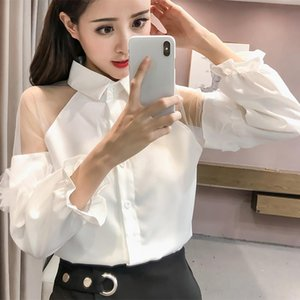 Magiray Mesh Ruffle Cold Shoulder Long Sleeve Blouse Women Korean Elegant White Black Shirt Sexy Streetwear Femininas Lady Top