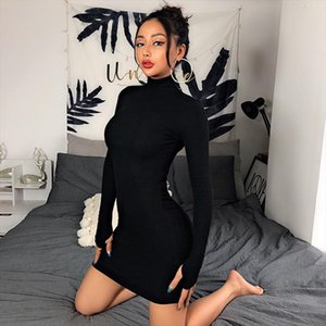 2020 Autumn Women Long Sleeve Turtleneck Sexy Bodycon Mini Dress Club Night Party Dress Black White Package Hip Skinny Vestidos