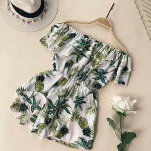 Summer Sexy Off The Shoulder Ruffles Playsuits Casual Loose Overalls With Pocket Floral Print Beach Jumpsuits Rompers Feminino