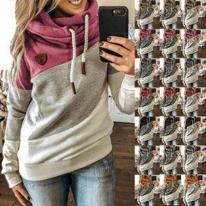 Women Patchwork Hooded Fleece Loose Sweatshirt Tops Long Sleeve Tops Ladies Pullover Hoodie Female Sweatshirt Sportswear