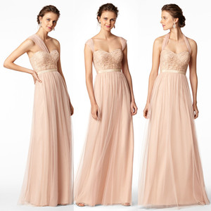 Champagne Cheap Long Bridesmaid Dresses Mixed Neckline Flow Chiffon Summer Rose Blush Bridesmaid Formal Prom Party Dresses with Ruffles