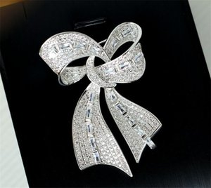Women Zircon Brooch Bow Butterfly Brooches Pins For Wedding Bride Jewelry Party Prom Jewelry Dress Ornament Elegant Designer Cubic Zirconia