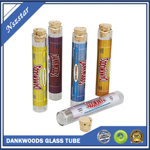 Dankwoods Glass Bottles Empty Container 120*21mm E cigarette Wood Cork for Vape Carts Pre Roll Packaging Stickers Vapor Tube