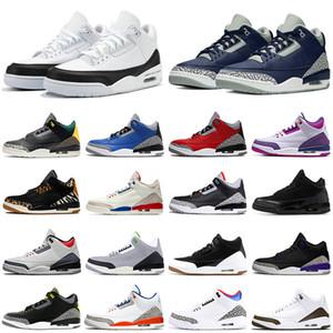 2021 UNC Black White Cement Jumpman 3 3s Mens basketball Shoes Fragment Flight Knicks Fire Red Bio Beige Men trainers Sports Shoes