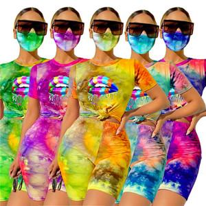Cravate Dye Womens 3PCS Suivi de la lèvre Modèle à lèvres T-shirts T-shirts Slim Biker Shorts et Masque Casual House Weans Femme Fitness Sports Ensembles sportifs