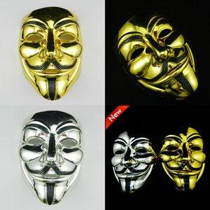 Anonymous Gold Argento per V Mask Vendetta Masquerade Maschere Valentine Ball Party Decoration Full Face Face Halloween Maschera per feste spaventose DBC VT0770