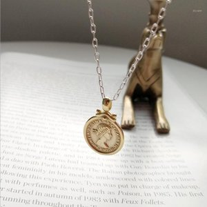 925 Sterling Silver Moon Six Pence Coin Figure Pendant Necklace Vintage Gold Round Chic Lady Portrait Necklace Women Jewelry1