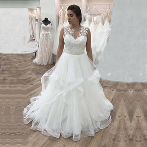 Romantic Plus Size Wedding Dresses Lace Appliques A Line Tulle Wedding Gowns V Neck Bride Dress Custom P150