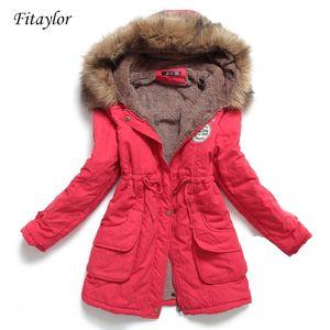 new winter women jacket medium-long thicken plus size 4XL outwear hooded wadded coat slim parka cotton-padded jacket overcoat 201023