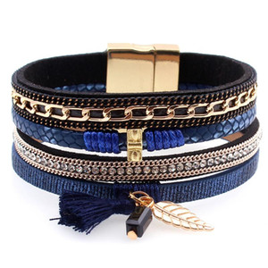 Fashion Multilayer Leather Tassel Ball Charm Rhinestone Bracelets Bangles magnet buckle Wristband Jewelry pulseira for Women men