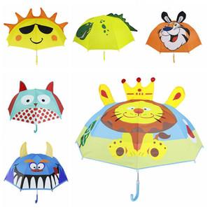Çocuklar Karikatür Şemsiye Hayvanlar Baskı Polyester Güneşli Yağmurlu Şemsiye Aslan Tavşan Kedi Asılı Uzun Kolu Düz Şemsiye Hediyeler BWD3404