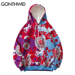 GONTHWID Color Block Patchwork Two Tone Thin Sweatshirts Streetwear Hip Hop Harajuku Japanese Style Devil Print Hooded Hoodies Y1204
