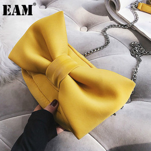 [EAM] 2020 Herbst Winter Mode Handtasche Samt Für Frauen Bogen Kette Schulter Umhängetasche Damen Reisetaschen HG218 Q1215