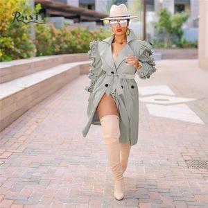 Rmsfe 2021 mulheres manga comprida terno colarinho único breasted wrinkle moda meados de windbreaker windbreaker casaco