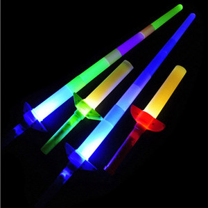 Brand new Low price Telescopic Glow Sticks Flash Light Up Toy Fluorescent Sword Concert Christmas Carnival Toys 40pcs lot DHE3409
