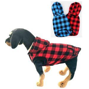 Köpek Ekose Gömlek Kaban Hoodie Pet Ceket Kış Elbise Çıkarılabilir Hood Sıcak ve Yumuşak Küçük Orta Büyük Köpekler JK2011XB için