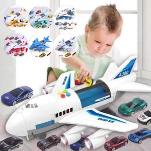 Music Story Simulation Track Inertia Children's Toy Aircraft Storage Passenger Plane PloiceFire Rescue Baby Boy Toy Car LJ200930