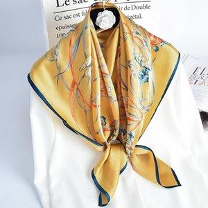 100% Pure Square Silk Neckerchief Spring Hangzhou Silk Kerchief Headwear for Ladies Printed Bandana Real Square Neck Scarf