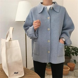 2020 Korea Preppy Style Solid Patchwork Soft Autumn Winter Thick Warm Cardigans High Quality Pockets Knitted Sweaters