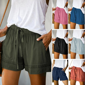 Casual Shorts Women New Summer High Waist Lace Up Pocket Loose Wide leg Shorts Ladies Leopard Floral Plus Size 5XL