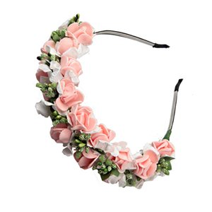 10pcs lot Women Headwear PE Rose Flower Hairbands Hair Accessories For Bride Wedding Headdress Z1120