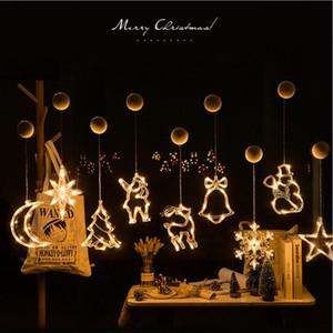 LED Christmas Light String Aspirazione Tazza Appeso Lampada Star String Lights Finestra Della Stanza Decorazione Bells Bells Snowflake Tree 30pcs T1i3069