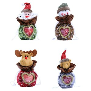 5PCS Christmas Candy Bags Santa Snowman Elk Bear Drawstring Gift Bags for Christmas, Party, New Year