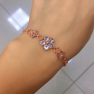 Korea fashion jewelry crystal flower bracelet diamond hollow out floral design chain bracelet for women