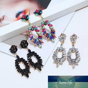 Boho 빈티지 간단한 크리스탈 드롭 귀걸이 여성을위한 럭셔리 기하학적 인 다채로운 라인 석 매달려 귀걸이 패션 액세서리