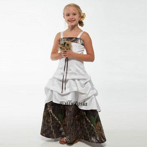 Country Style Junior Bridesmaid Dresses Spagehtti Straps Elastic Satin Lace up Back Floor Length White Camo Flower Girls Dresses For Wedding