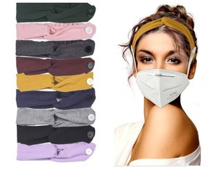 Fashion Headbands with Button for Face Mask Cover Elastic Ear Protection Mask Hair Band Outdoor Sport Headscarf Adult Kids Accessories