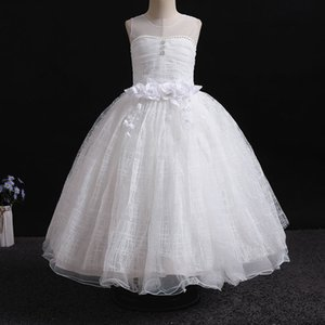 Kids Off the Shoulder White Tutu Princess Dress Girls Birthday Party Ballroom Pageant Stage Performance Costume Formal Clothing
