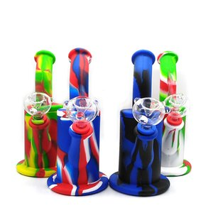 8.5 inches Printed Silicone Bong two parts small bubble silicone water pipe with 14mm glass bowl bong