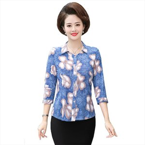 Plus Size 5XL Middle Age Women Blouse And Shirts 2020 Spring Summer Mother Clothing Print Shirt Blusa Femme Cardigan Tops Y58