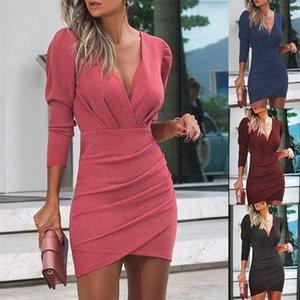 Leosoxs İlkbahar Sonbahar Seksi Derin V Boyun Uzun Kollu kadın Elbise 2020 Moda Katı Tunik Bodycon Düzensiz Bayanlar Mini Elbise