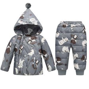 Winter Jacket For Boy 2 Piece Set Girl Snowsuit Cartoon Cute Polar Bear Snow Wear Whit Trousers Outerwear Kids Coats Y1117
