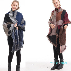 New Fashion Home Scarf Shawl Geometric Pattern Bevel Checkered Tassel Cape Coat free shipping