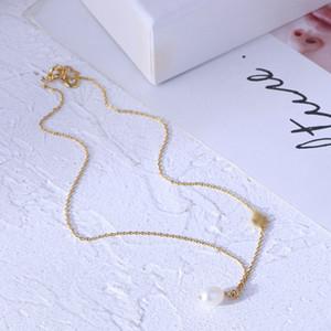 مطلية بالذهب الحقيقي قلادة لؤلؤة حقيقية قلادة الأزياء إلكتروني حار بيع العلامة التجارية قلادة مع العلامات