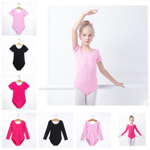 Kids Gymnastics Leotard Short or long Sleeve Children Dance Costumes Latin Ballet Dance Bodysuit Children's Exercise Clothe Solid Color 2019