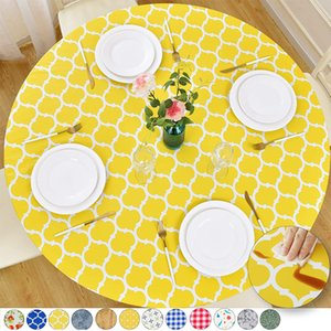 Outdoor Patio Round Fitted Vinyl Tablecloth Flannel Backing Elastic Edge Waterproof Wipeable Plastic Cover Yellow Checkerboa