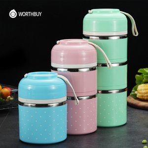 WORTHBUY Cute Japanese Lunch Box For Kids Portable Outdoor Stainless Steel Bento Box Leak-Proof Food Container Kitchen Food Box T200710