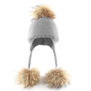 Toddler Baby Raccoon Fur Ball Beanie Winter Warm Solid Color Knitted Hat Earflap L4MC Z1128