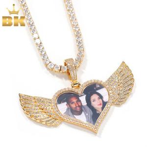 O BLING KING DIY Fotoes Colar Forma de coração com asa de jóias de moda para casal Presente de ouro Cadeia de tênis do dia dos namorados Q1129