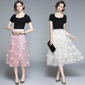 Boutique Girl Set Tshirt+skirt Short Sleeve Embroidery Lace Womens Two Piece Set Spring Summer Skirt Set High-end Fashion Lady Suits