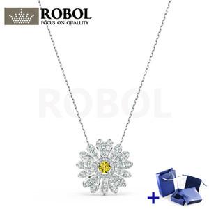 Alta qualidade original swa colar com original gravado eterno flor colar caixa conjunto mulher jóias presente frete grátis