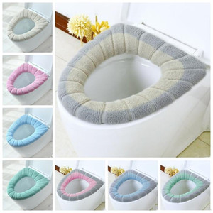 Toilet Seat Cover Pads Soft Thicken Warmer Nordic Wind Sitting Cushion Stretchable Washable Cloth Toilet Seat Cover Pads Soft 8Styles WY1198