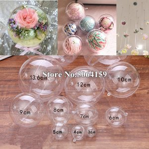 70-140mm 10Pairs Big Christmas Tress Decorations Ball Transparent Open Plastic Clear Bauble Ornament Gift Present Box New Year Z1128